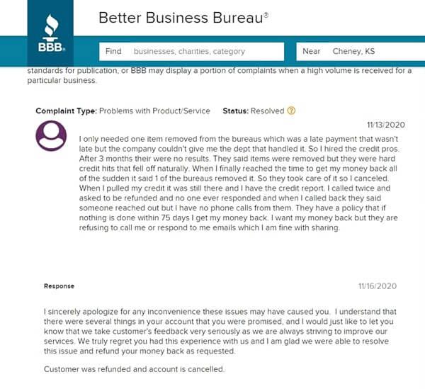 The Credit Pros Complaints