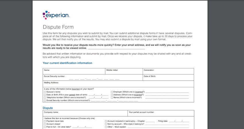 Example of Dispute Form Experian