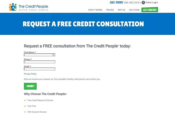 Requesting a free consultation from The Credit People