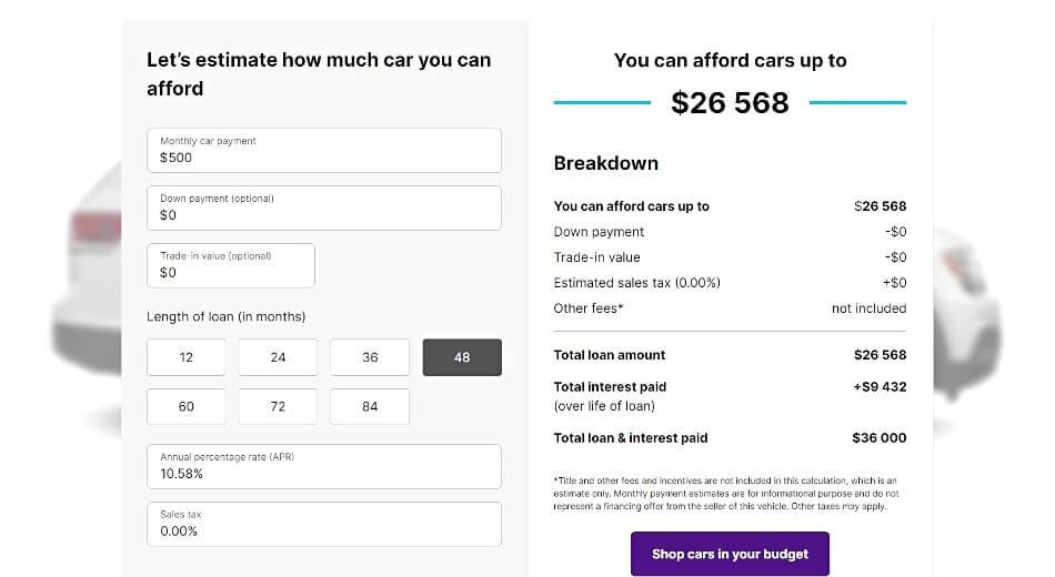 Cars.com Affordability Calculator