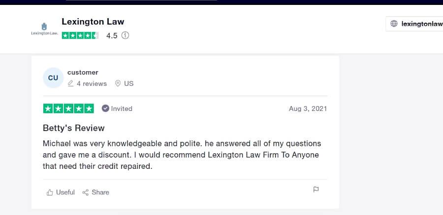Lexington Law trustpilot